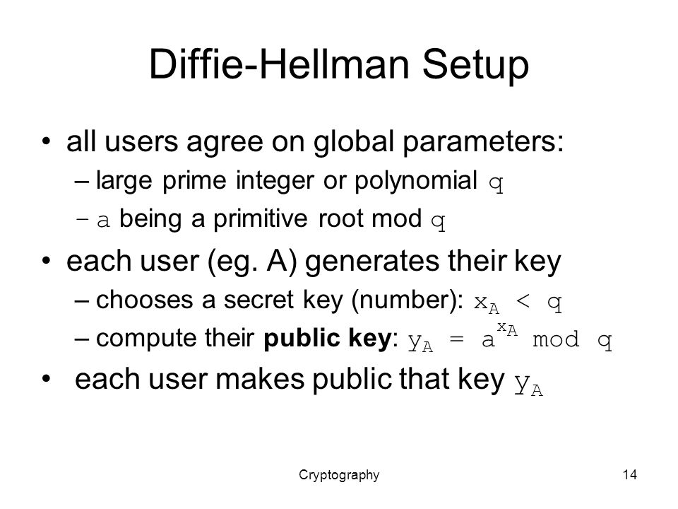 Cryptography14 Diffie-Hellman Setup all users agree on global parameters: –large prime integer or polynomial q –a being a primitive root mod q each user (eg.