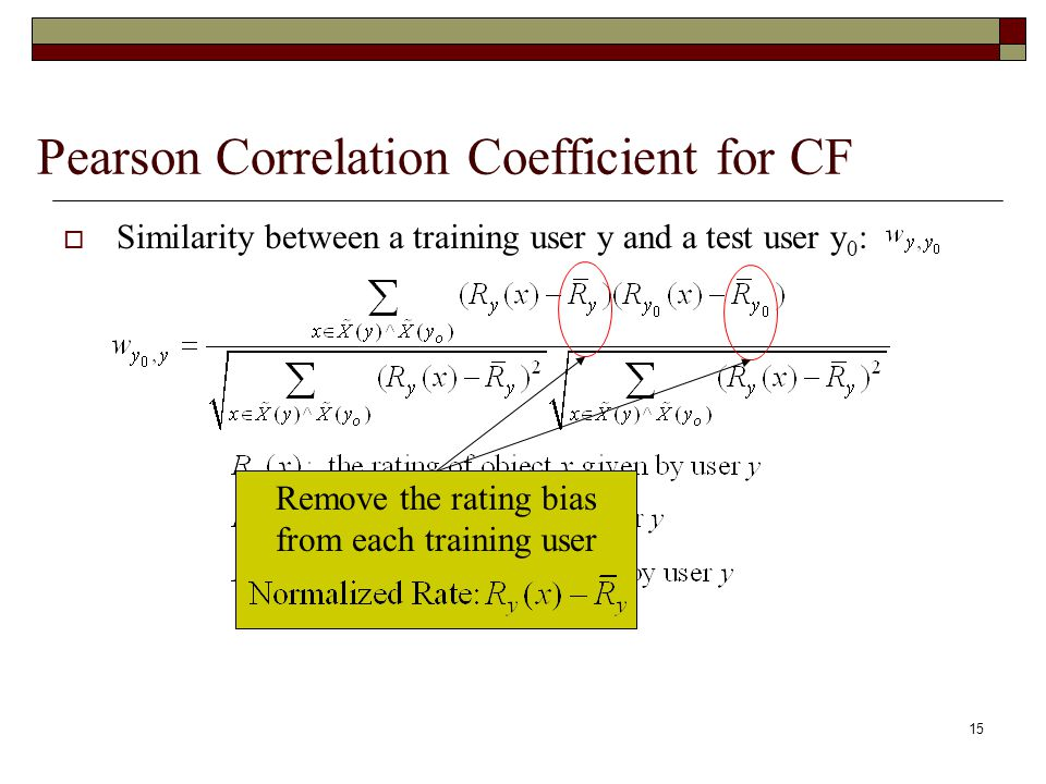 15 Pearson Correlation Coefficient for CF  Similarity between a training user y and a test user y 0 : Remove the rating bias from each training user