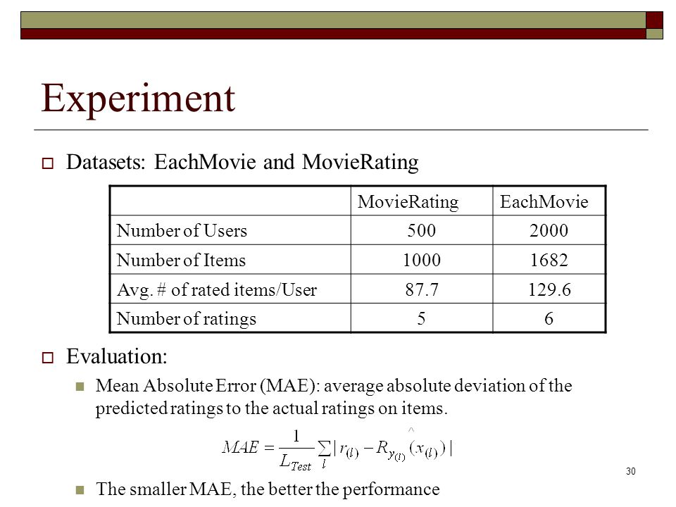 30 Experiment  Datasets: EachMovie and MovieRating  Evaluation: Mean Absolute Error (MAE): average absolute deviation of the predicted ratings to the actual ratings on items.