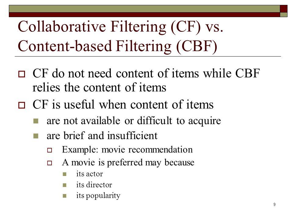 9 Collaborative Filtering (CF) vs.