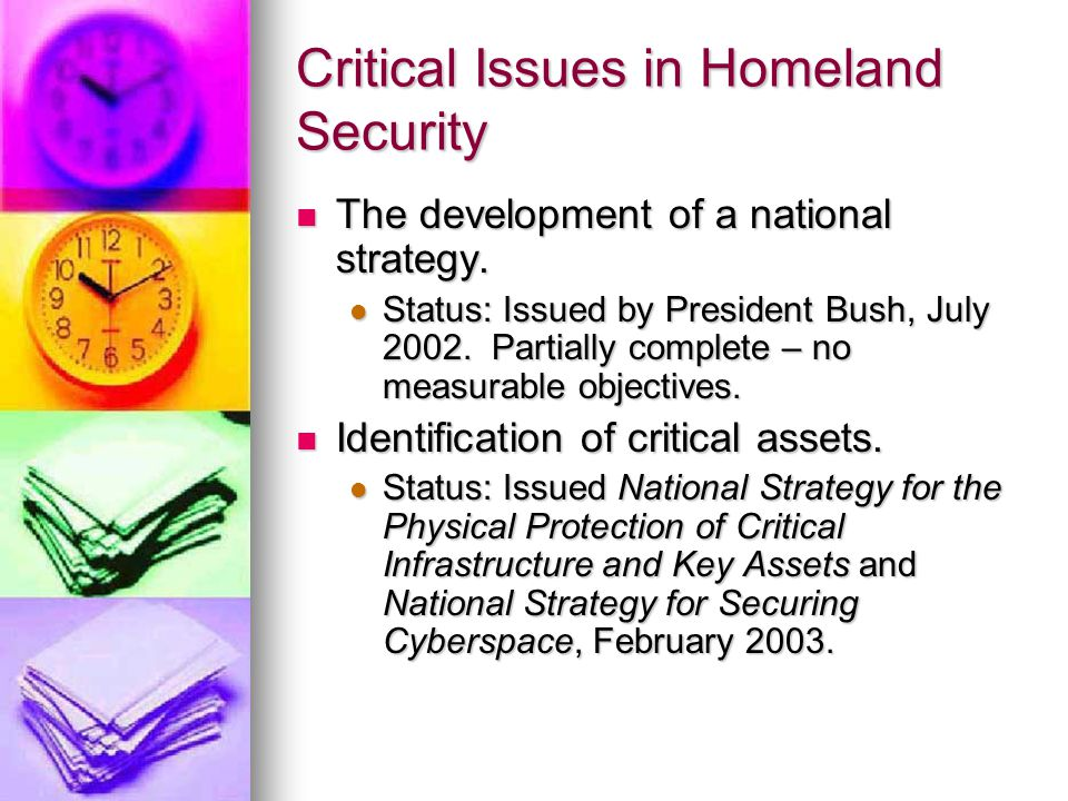 Critical Issues in Homeland Security The development of a national strategy.