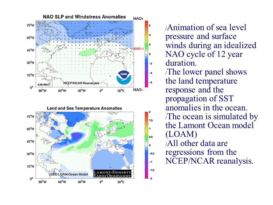 NAO movie / Animation of sea level pressure and surface winds during an idealized NAO cycle of 12 year duration.