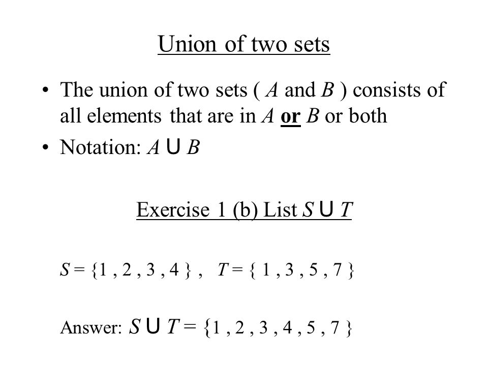 Complement Set Definition: The set of elements of U that are not in set A is called the compliment set of A, denoted by A´ Other notations occasionally used: A c or A Exercise 1 (a) List S´ U = { 1, 2, 3, 4, 5, 6, 7 }, S = {1, 2, 3, 4 } Answer: S´ = { 5, 6, 7 }