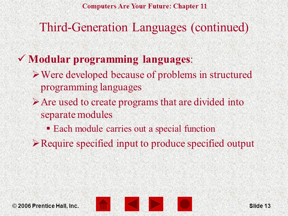 Computers Are Your Future: Chapter 11 © 2006 Prentice Hall, Inc.Slide 13 Third-Generation Languages (continued) Modular programming languages:  Were developed because of problems in structured programming languages  Are used to create programs that are divided into separate modules  Each module carries out a special function  Require specified input to produce specified output