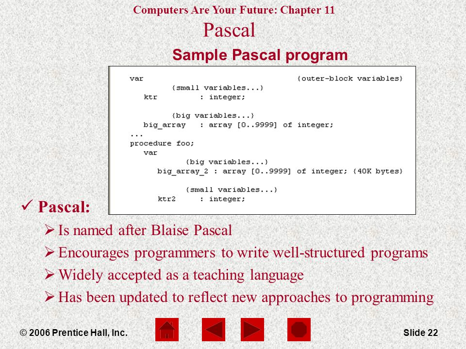 Computers Are Your Future: Chapter 11 © 2006 Prentice Hall, Inc.Slide 22 Sample Pascal program Pascal Pascal:  Is named after Blaise Pascal  Encourages programmers to write well-structured programs  Widely accepted as a teaching language  Has been updated to reflect new approaches to programming
