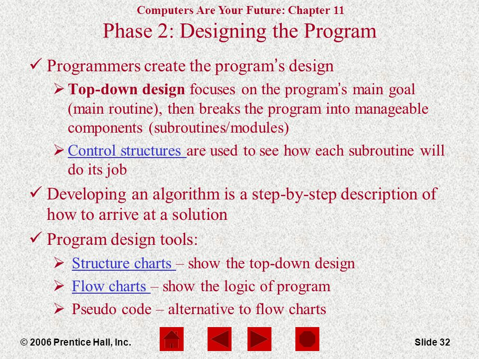 Computers Are Your Future: Chapter 11 © 2006 Prentice Hall, Inc.Slide 32 Phase 2: Designing the Program Programmers create the program ' s design  Top-down design focuses on the program ' s main goal (main routine), then breaks the program into manageable components (subroutines/modules)  Control structures are used to see how each subroutine will do its job Control structures Developing an algorithm is a step-by-step description of how to arrive at a solution Program design tools:  Structure charts – show the top-down designStructure charts  Flow charts – show the logic of programFlow charts  Pseudo code – alternative to flow charts