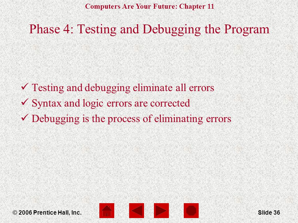 Computers Are Your Future: Chapter 11 © 2006 Prentice Hall, Inc.Slide 36 Phase 4: Testing and Debugging the Program Testing and debugging eliminate all errors Syntax and logic errors are corrected Debugging is the process of eliminating errors