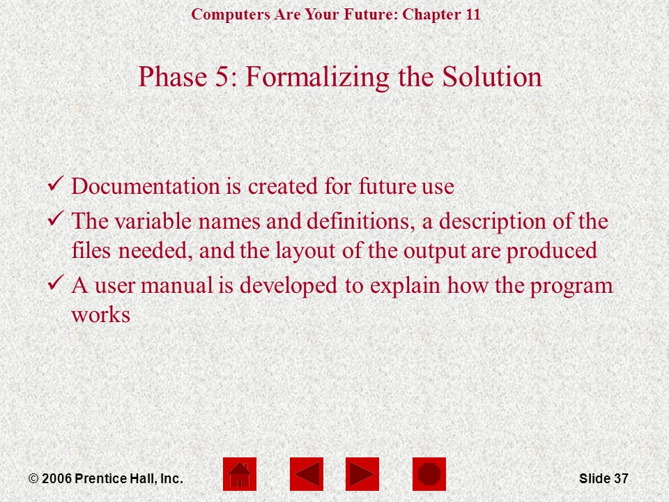 Computers Are Your Future: Chapter 11 © 2006 Prentice Hall, Inc.Slide 37 Phase 5: Formalizing the Solution Documentation is created for future use The variable names and definitions, a description of the files needed, and the layout of the output are produced A user manual is developed to explain how the program works