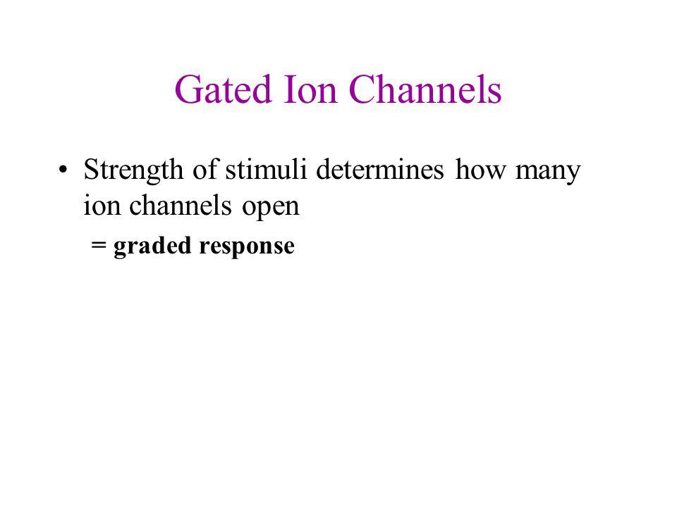 Gated Ion Channels Strength of stimuli determines how many ion channels open = graded response