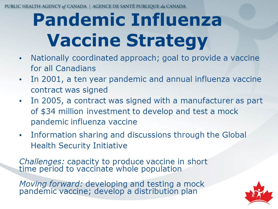 8 Nationally coordinated approach; goal to provide a vaccine for all Canadians In 2001, a ten year pandemic and annual influenza vaccine contract was signed In 2005, a contract was signed with a manufacturer as part of $34 million investment to develop and test a mock pandemic influenza vaccine Information sharing and discussions through the Global Health Security Initiative Challenges: capacity to produce vaccine in short time period to vaccinate whole population Moving forward: developing and testing a mock pandemic vaccine; develop a distribution plan Pandemic Influenza Vaccine Strategy