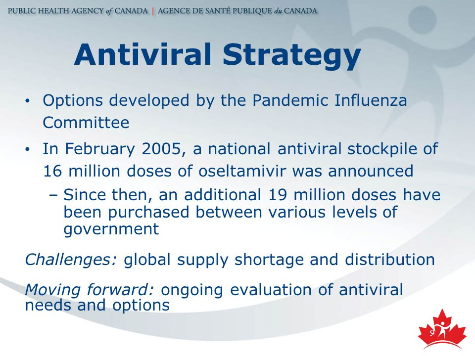 9 Antiviral Strategy Options developed by the Pandemic Influenza Committee In February 2005, a national antiviral stockpile of 16 million doses of oseltamivir was announced –Since then, an additional 19 million doses have been purchased between various levels of government Challenges: global supply shortage and distribution Moving forward: ongoing evaluation of antiviral needs and options