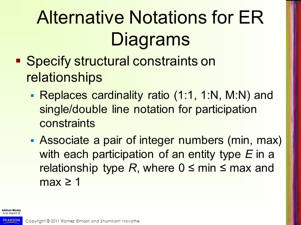 Copyright © 2011 Ramez Elmasri and Shamkant Navathe Alternative Notations for ER Diagrams  Specify structural constraints on relationships  Replaces cardinality ratio (1:1, 1:N, M:N) and single/double line notation for participation constraints  Associate a pair of integer numbers (min, max) with each participation of an entity type E in a relationship type R, where 0 ≤ min ≤ max and max ≥ 1