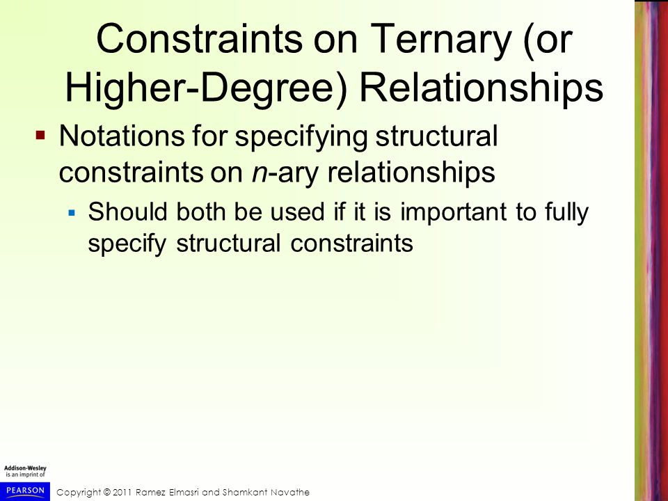 Constraints on Ternary (or Higher-Degree) Relationships  Notations for specifying structural constraints on n-ary relationships  Should both be used if it is important to fully specify structural constraints