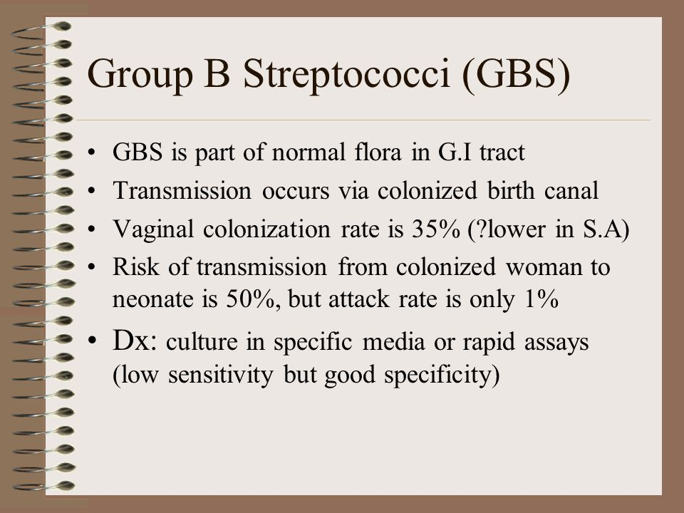 Group B Streptococci (GBS) GBS is part of normal flora in G.I tract Transmission occurs via colonized birth canal Vaginal colonization rate is 35% ( lower in S.A) Risk of transmission from colonized woman to neonate is 50%, but attack rate is only 1% Dx: culture in specific media or rapid assays (low sensitivity but good specificity)