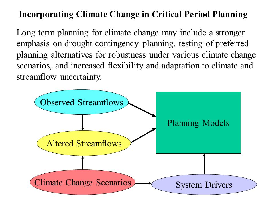 Observed Streamflows Climate Change Scenarios Planning Models Long term planning for climate change may include a stronger emphasis on drought contingency planning, testing of preferred planning alternatives for robustness under various climate change scenarios, and increased flexibility and adaptation to climate and streamflow uncertainty.