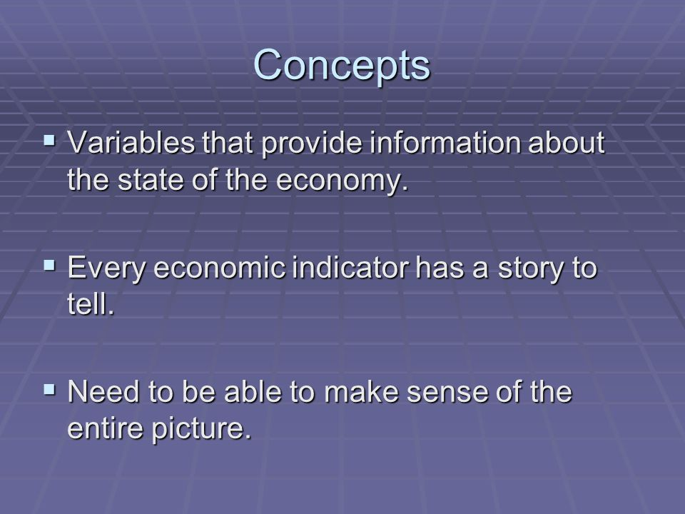 Concepts  Variables that provide information about the state of the economy.