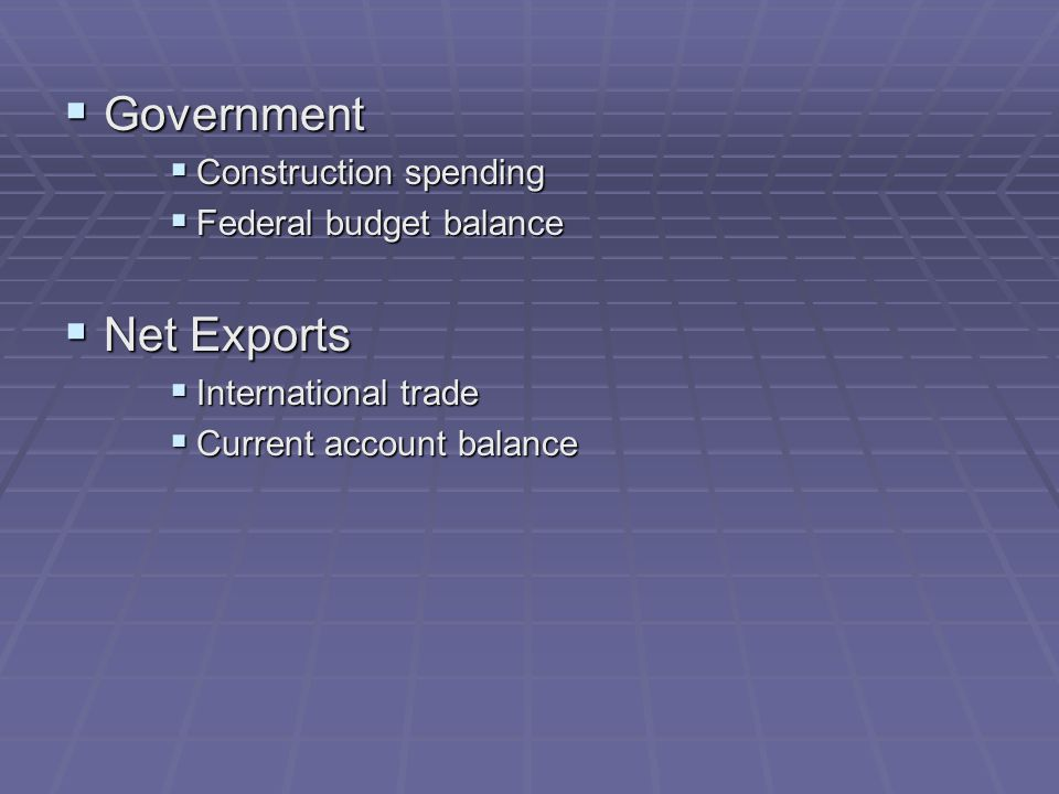  Government  Construction spending  Federal budget balance  Net Exports  International trade  Current account balance