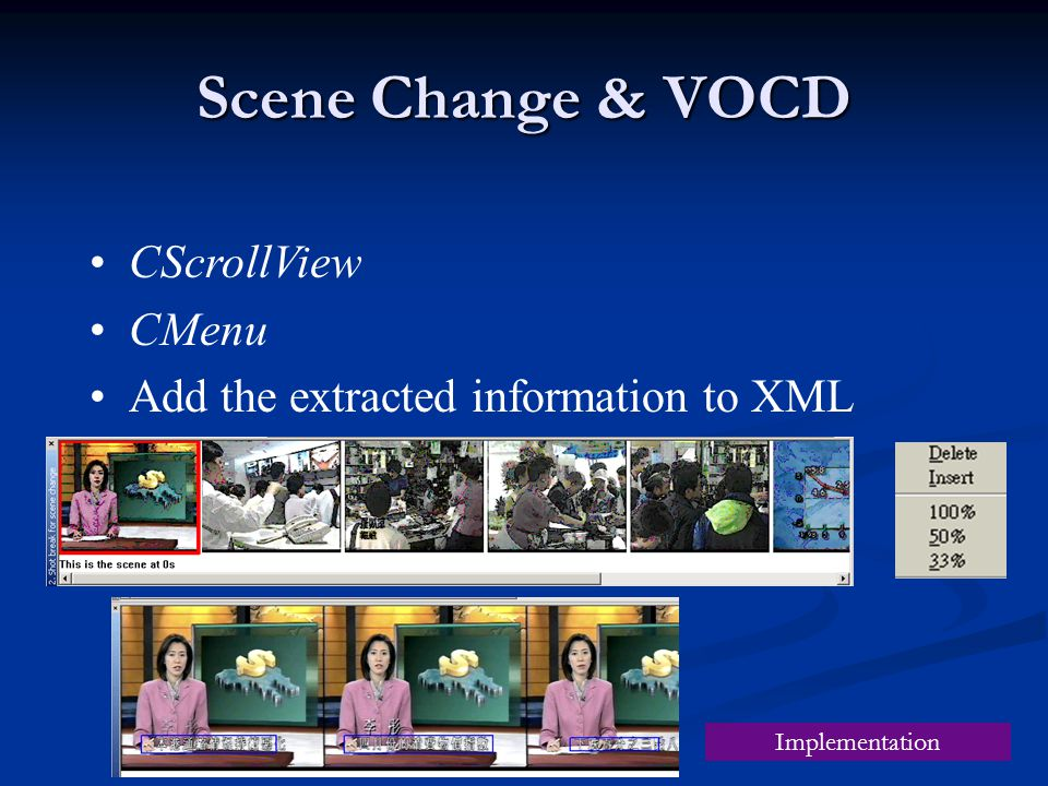 Scene Change & VOCD CScrollView CMenu Add the extracted information to XML Implementation