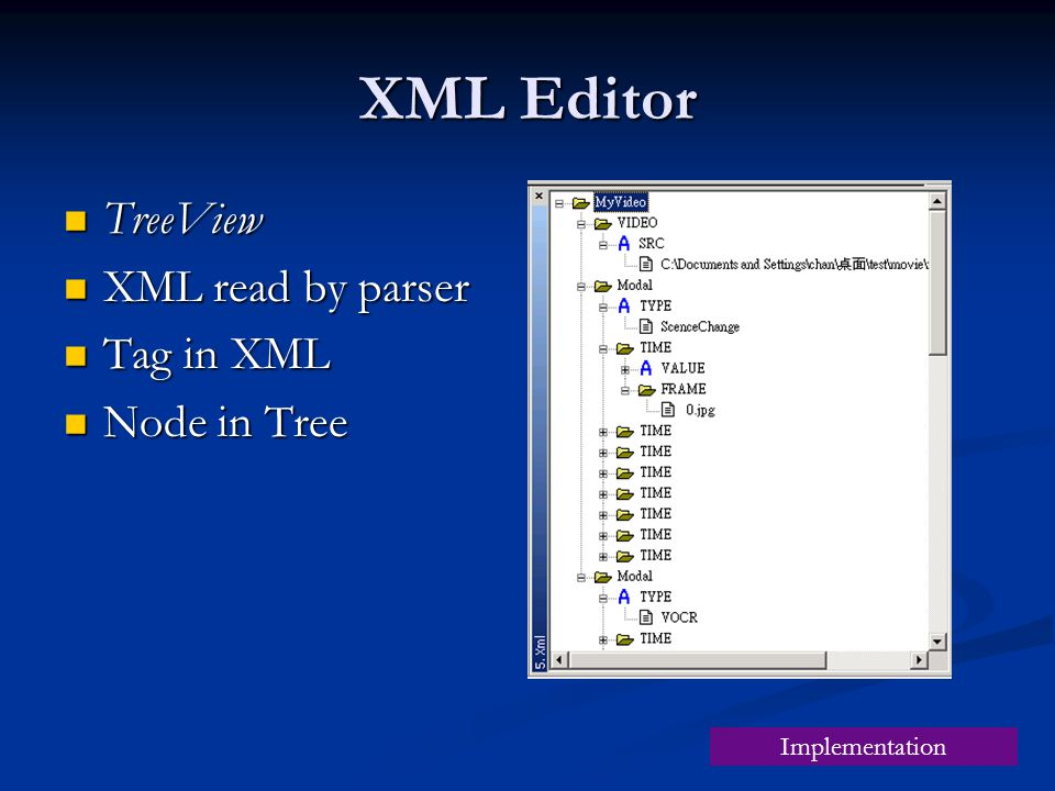 XML Editor TreeView TreeView XML read by parser XML read by parser Tag in XML Tag in XML Node in Tree Node in Tree Implementation