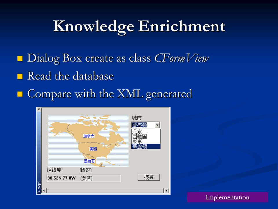 Knowledge Enrichment Dialog Box create as class CFormView Dialog Box create as class CFormView Read the database Read the database Compare with the XML generated Compare with the XML generated Implementation