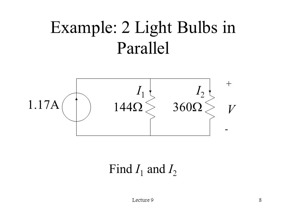 Lecture A 144  V + - I1I1 I2I2 Example: 2 Light Bulbs in Parallel Find I 1 and I 