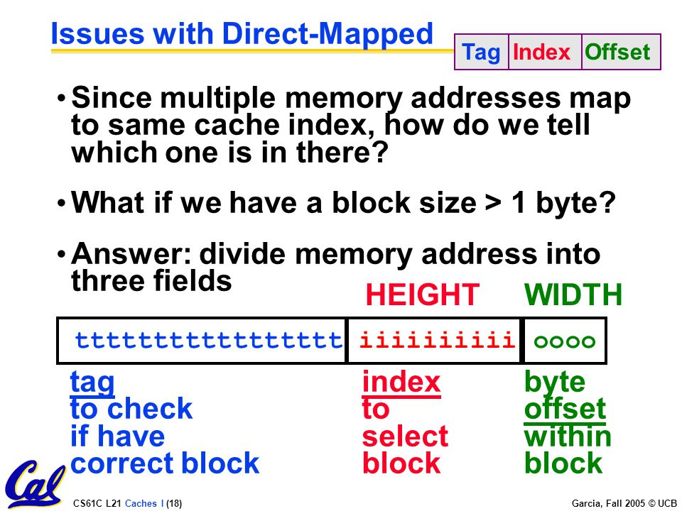 CS61C L21 Caches I (18) Garcia, Fall 2005 © UCB Issues with Direct-Mapped Since multiple memory addresses map to same cache index, how do we tell which one is in there.