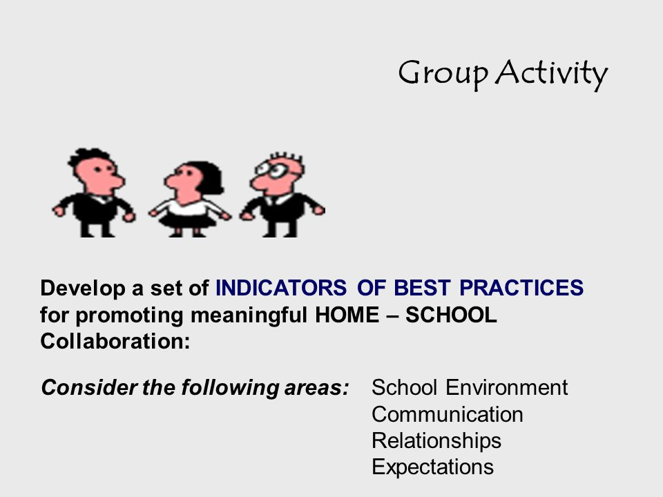 Group Activity Develop a set of INDICATORS OF BEST PRACTICES for promoting meaningful HOME – SCHOOL Collaboration: Consider the following areas: School Environment Communication Relationships Expectations