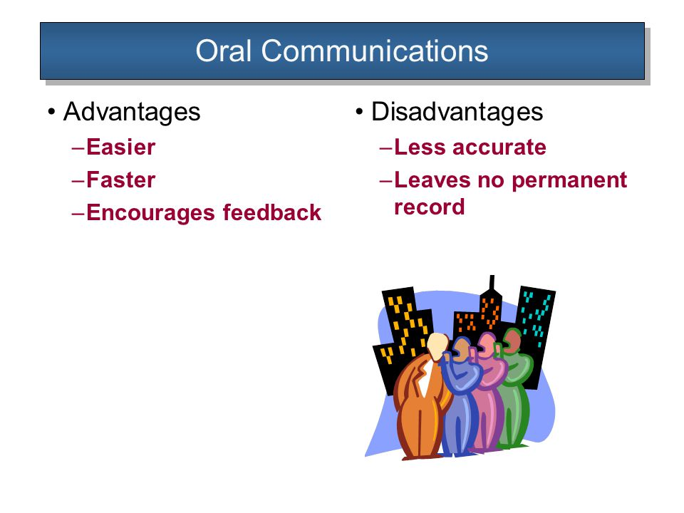 Oral Communications Advantages –Easier –Faster –Encourages feedback Disadvantages –Less accurate –Leaves no permanent record