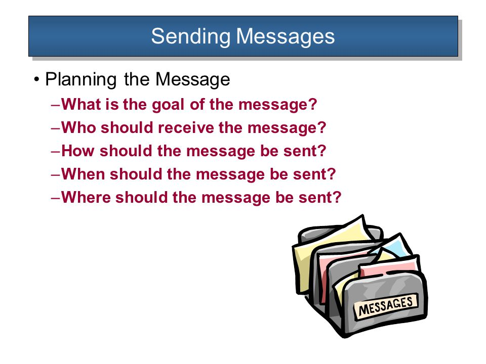 Sending Messages Planning the Message –What is the goal of the message.