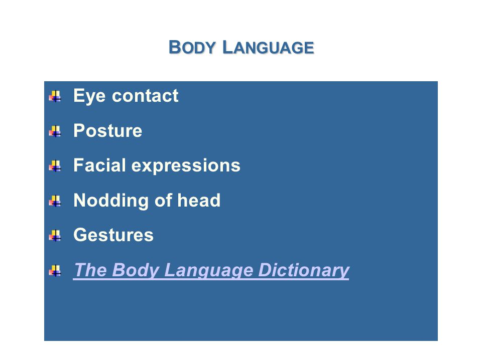 B ODY L ANGUAGE Eye contact Posture Facial expressions Nodding of head Gestures The Body Language Dictionary