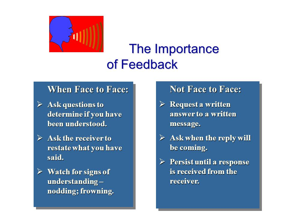 The Importance of Feedback The Importance of Feedback When Face to Face:  Ask questions to determine if you have been understood.