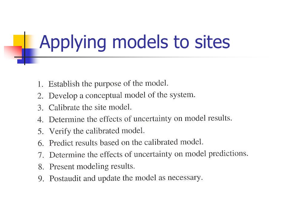 Applying models to sites