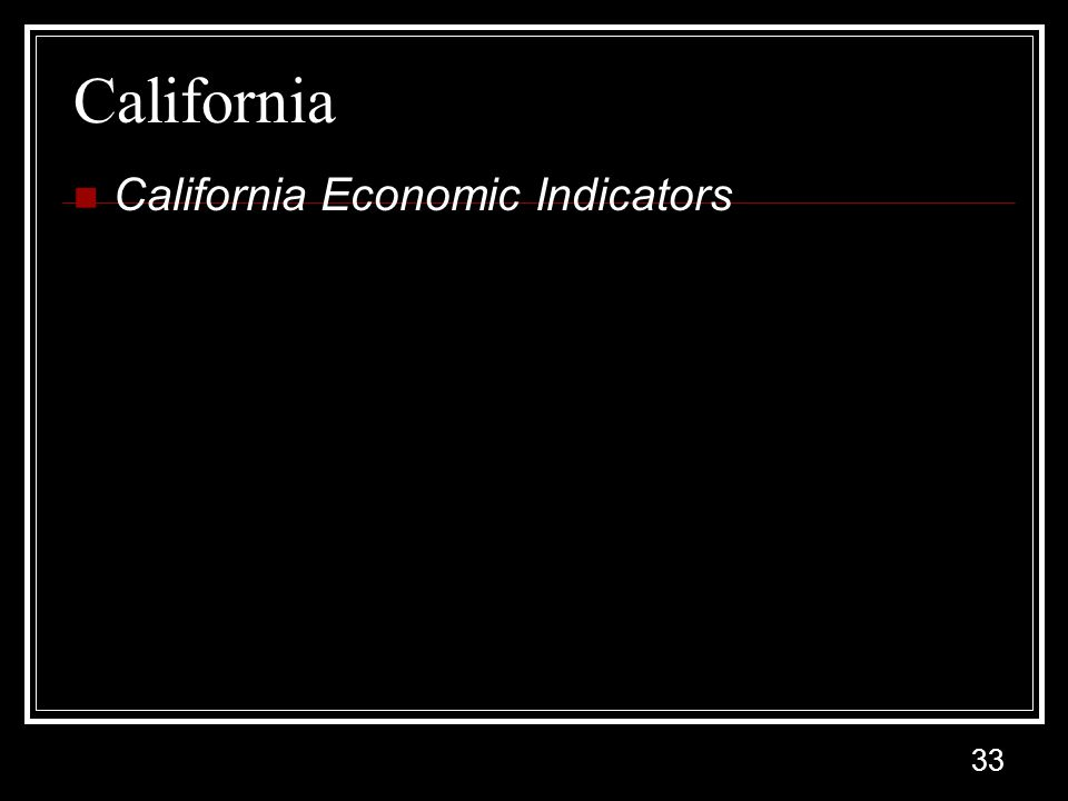 33 California California Economic Indicators