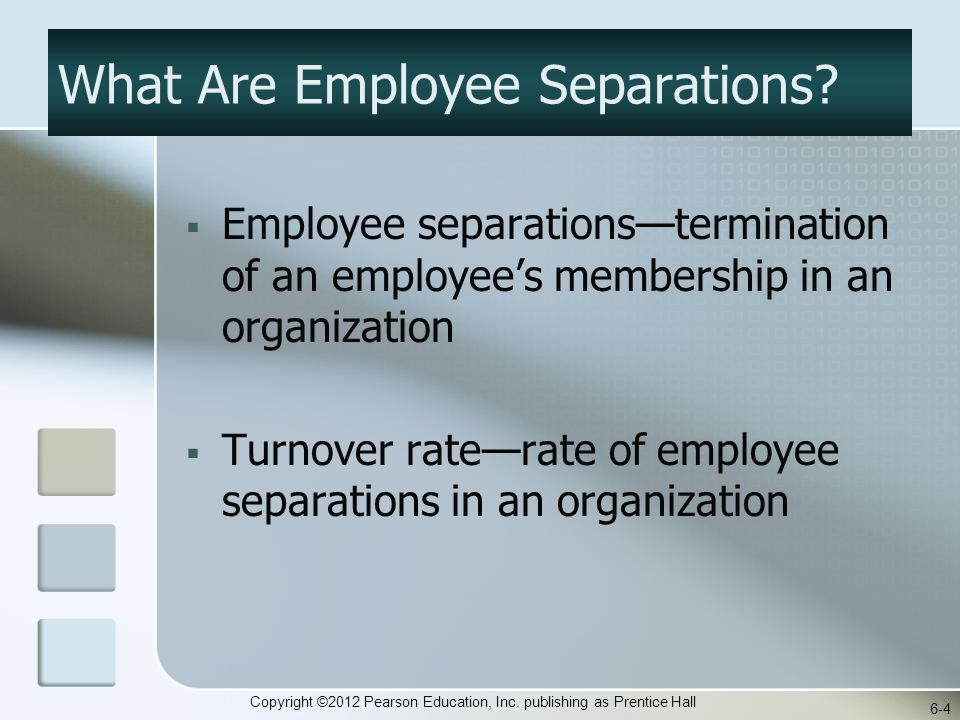 Copyright ©2012 Pearson Education, Inc. publishing as Prentice Hall What Are Employee Separations.