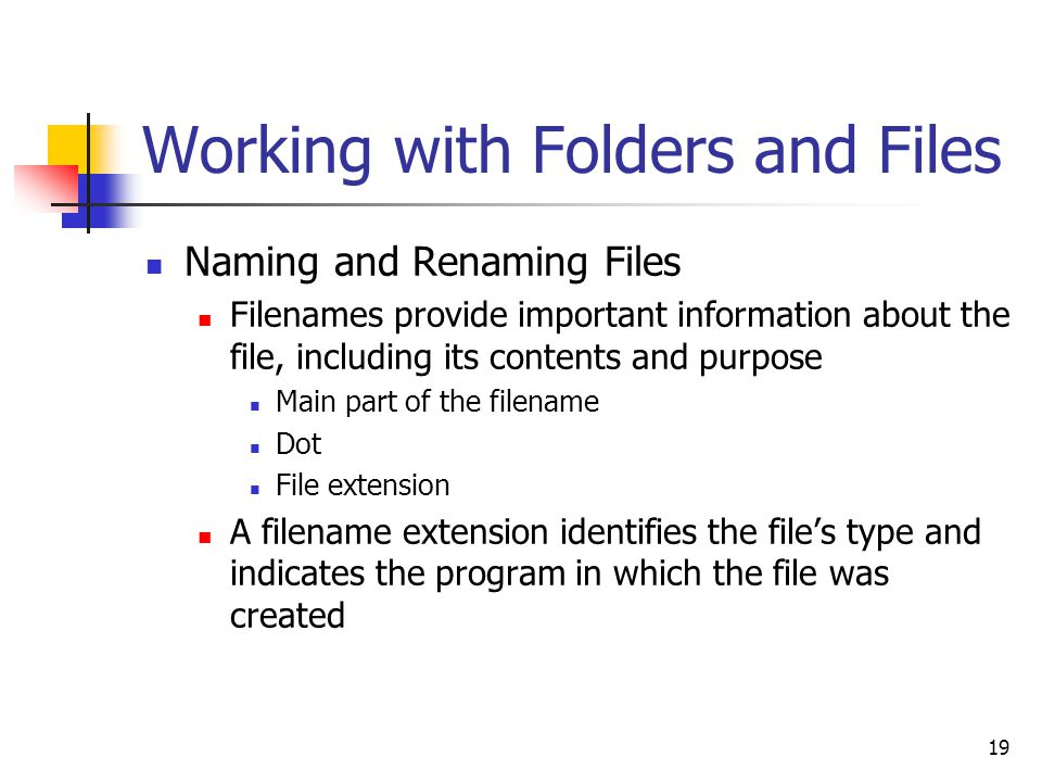 19 Working with Folders and Files Naming and Renaming Files Filenames provide important information about the file, including its contents and purpose Main part of the filename Dot File extension A filename extension identifies the file's type and indicates the program in which the file was created