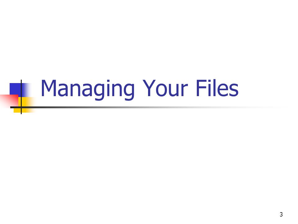 3 Managing Your Files
