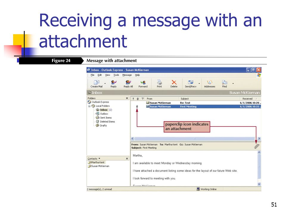 51 Receiving a message with an attachment