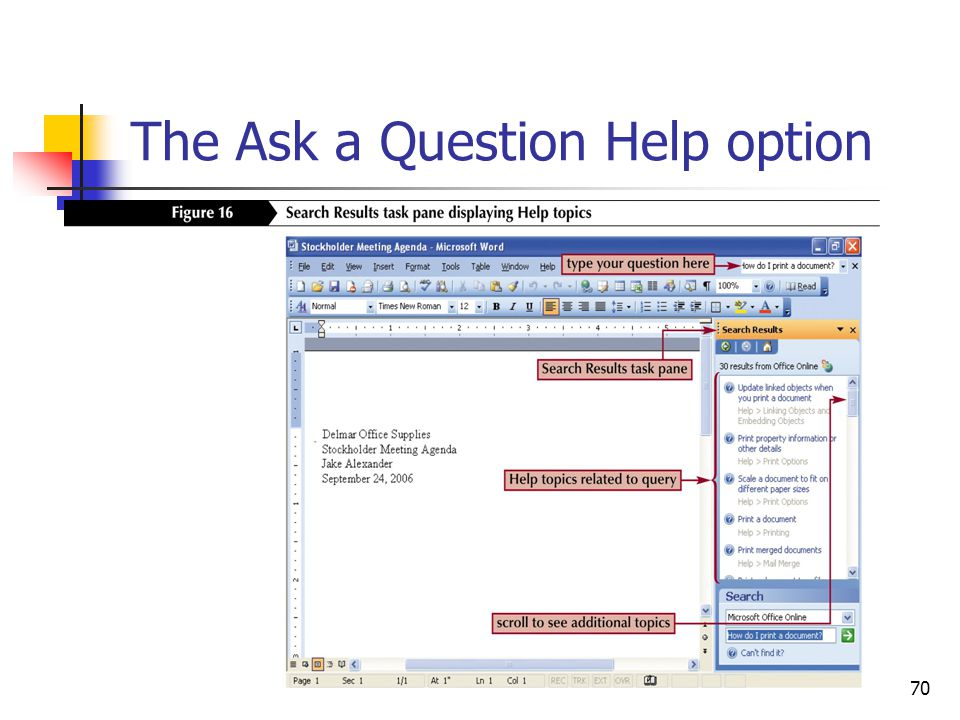 70 The Ask a Question Help option