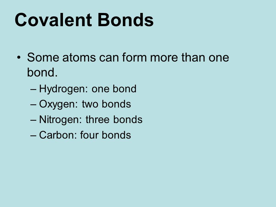 Some atoms can form more than one bond.