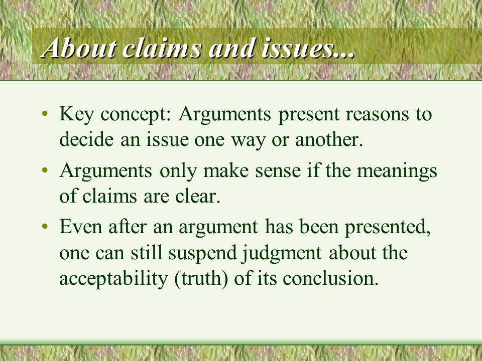 About claims and issues...