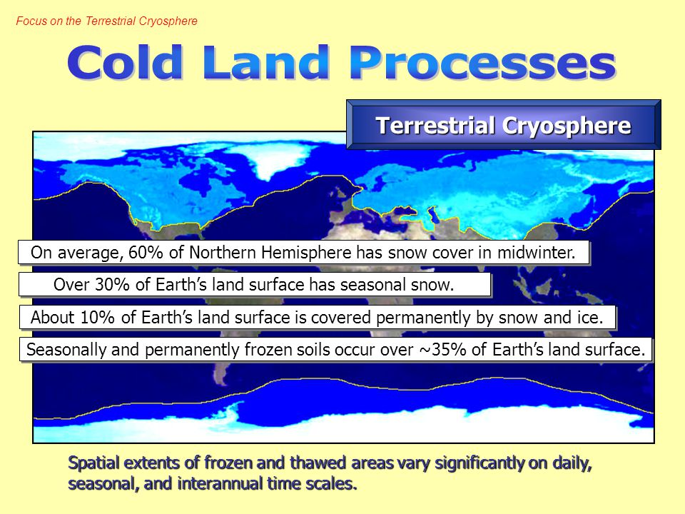 Focus on the Terrestrial Cryosphere Spatial extents of frozen and thawed areas vary significantly on daily, seasonal, and interannual time scales.