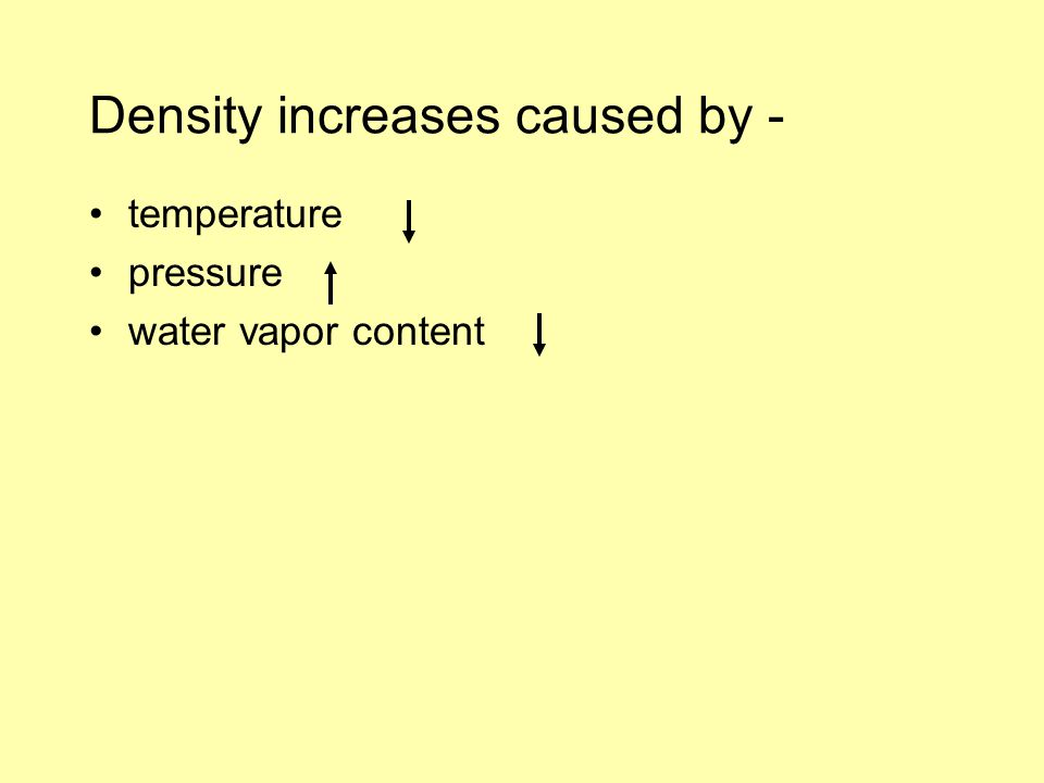 Density increases caused by - temperature pressure water vapor content