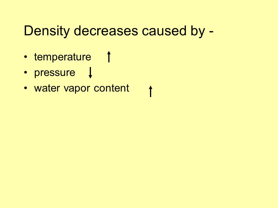 Density decreases caused by - temperature pressure water vapor content