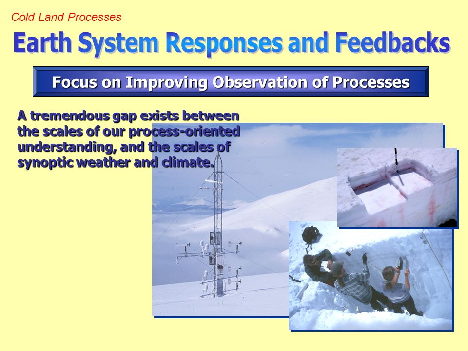 Cold Land Processes Focus on Improving Observation of Processes A tremendous gap exists between the scales of our process-oriented understanding, and the scales of synoptic weather and climate.