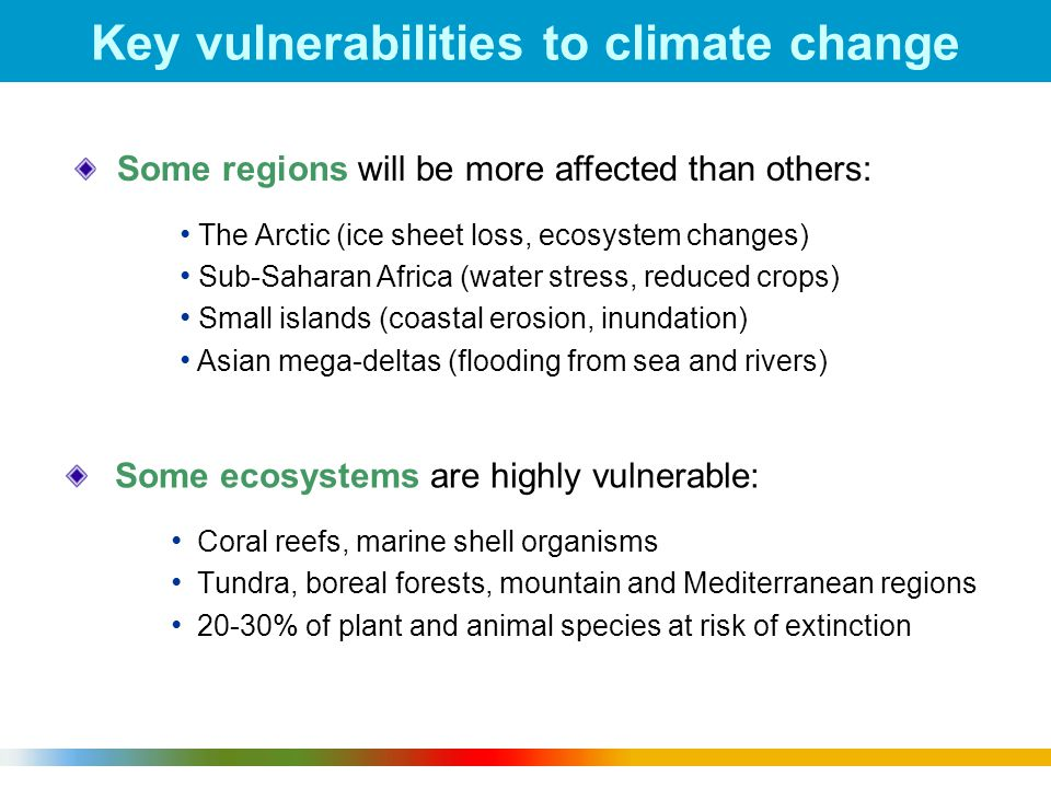 1 Key vulnerabilities to climate change Some ecosystems are highly vulnerable: Coral reefs, marine shell organisms Tundra, boreal forests, mountain and Mediterranean regions 20-30% of plant and animal species at risk of extinction Some regions will be more affected than others: The Arctic (ice sheet loss, ecosystem changes) Sub-Saharan Africa (water stress, reduced crops) Small islands (coastal erosion, inundation) Asian mega-deltas (flooding from sea and rivers)
