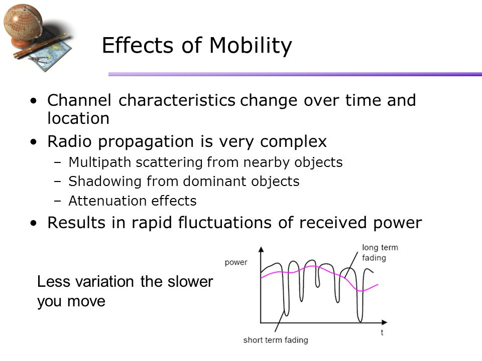Effects of Mobility Channel characteristics change over time and location Radio propagation is very complex –Multipath scattering from nearby objects –Shadowing from dominant objects –Attenuation effects Results in rapid fluctuations of received power Less variation the slower you move