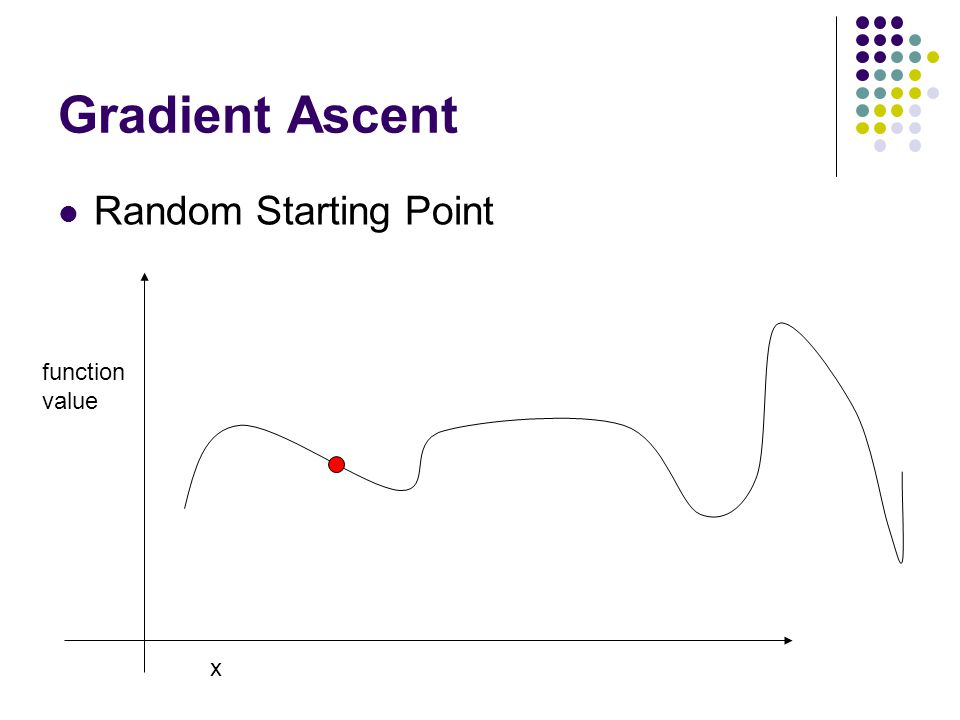 Gradient Ascent Random Starting Point x function value
