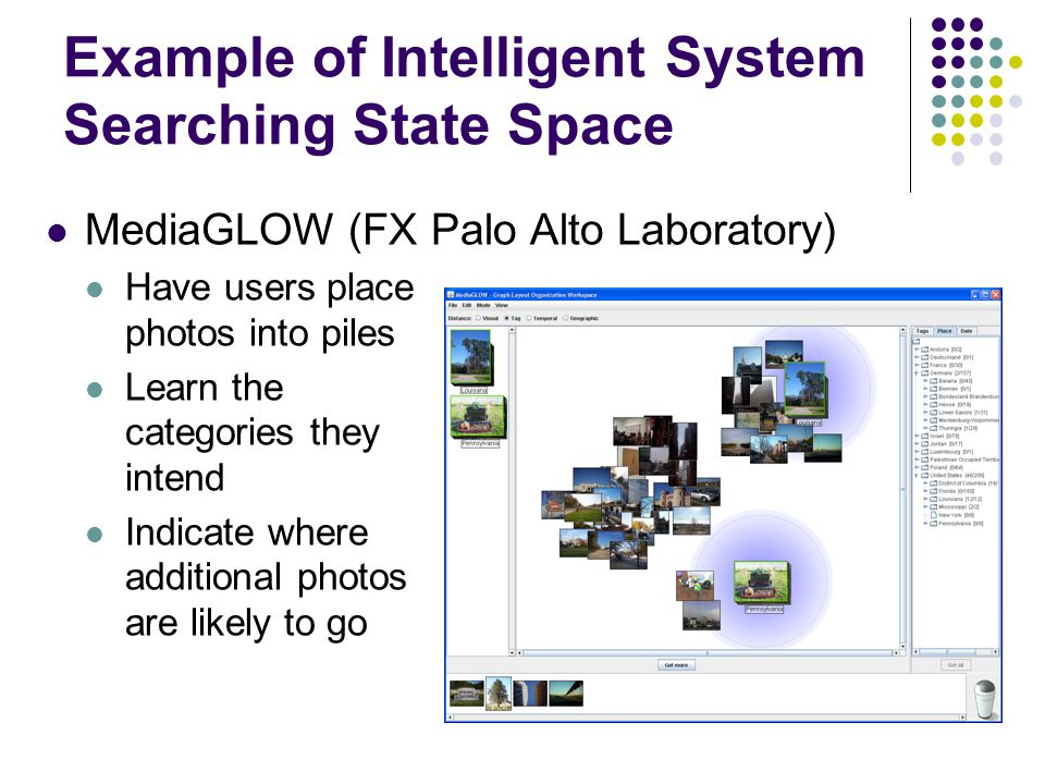 Example of Intelligent System Searching State Space MediaGLOW (FX Palo Alto Laboratory) Have users place photos into piles Learn the categories they intend Indicate where additional photos are likely to go