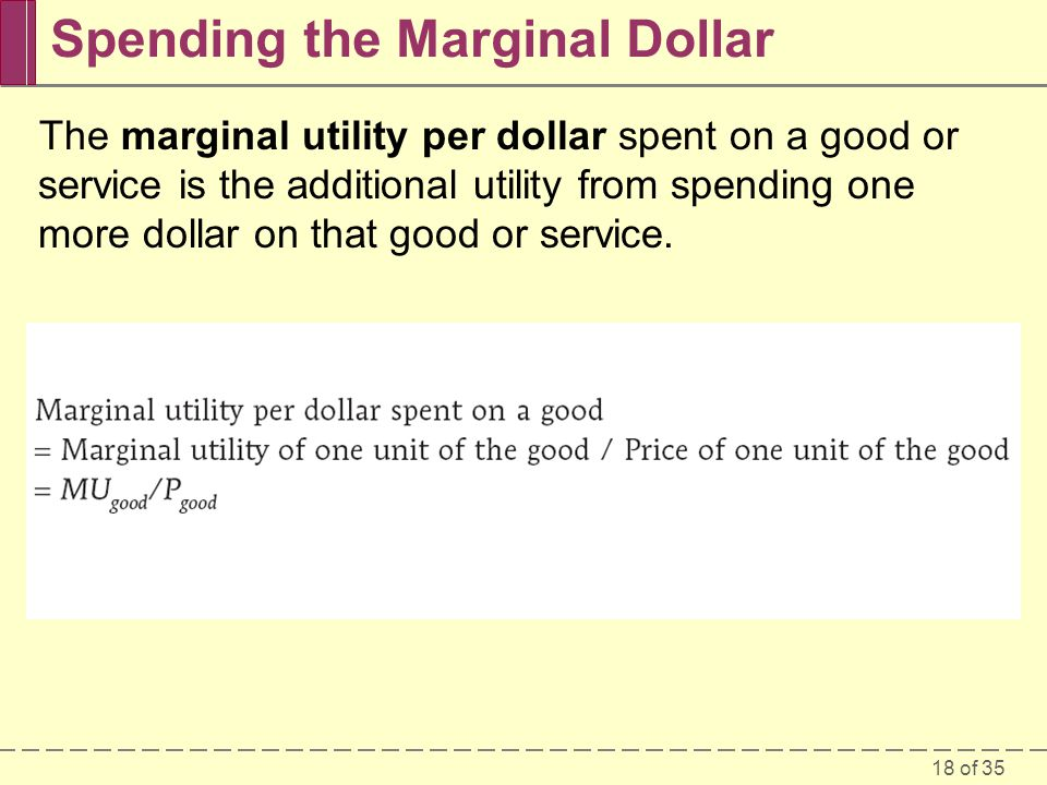 18 of 35 Spending the Marginal Dollar The marginal utility per dollar spent on a good or service is the additional utility from spending one more dollar on that good or service.