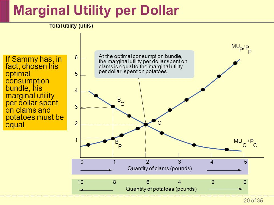 20 of 35 Marginal Utility per Dollar If Sammy has, in fact, chosen his optimal consumption bundle, his marginal utility per dollar spent on clams and potatoes must be equal.